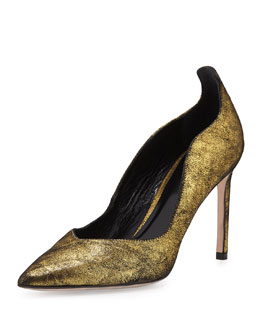 Delman Brie Point-Toe Kid Suede Pump, Gold
