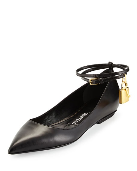 Leather Ankle-Lock Ballerina Flat, Black