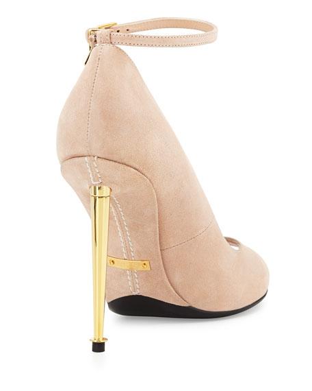 Suede Open-Toe Ankle-Lock Pump, Nude