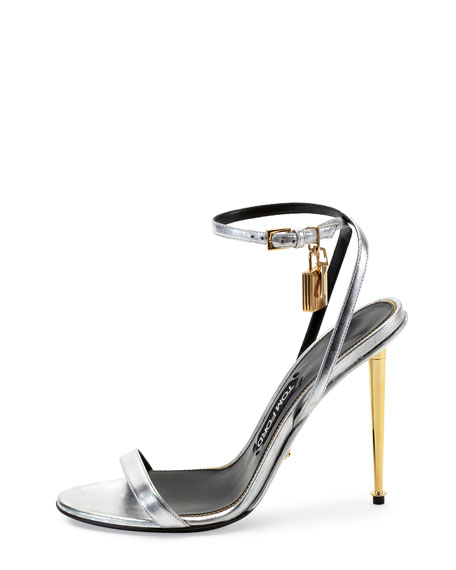 Metallic Ankle-Lock Sandal, Silver