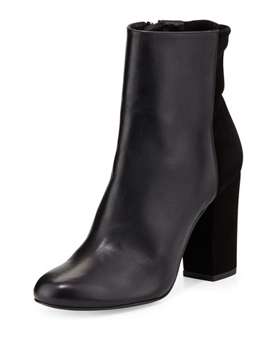 Delman Nyla Leather Ankle Boot, Black