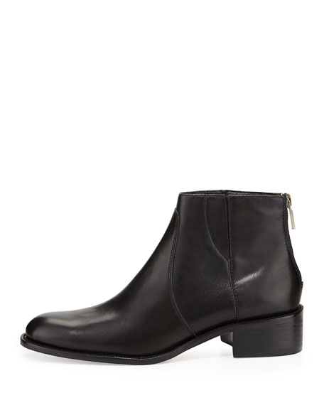 Shea Leather Flat Bootie, Black