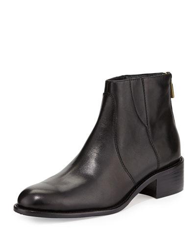 Delman Shea Leather Flat Bootie, Black