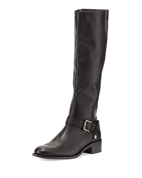Delman Soar Flat Leather Riding Boot, Black