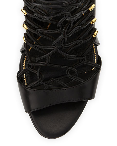 Calfskin Lace-Up Sandal, Black