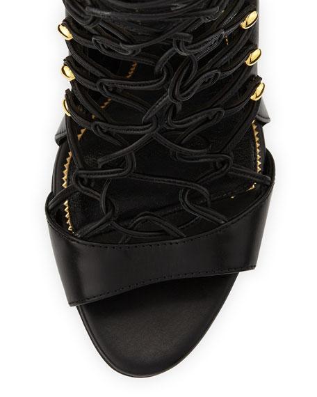 Calfskin Lace-Up Sandal, Black