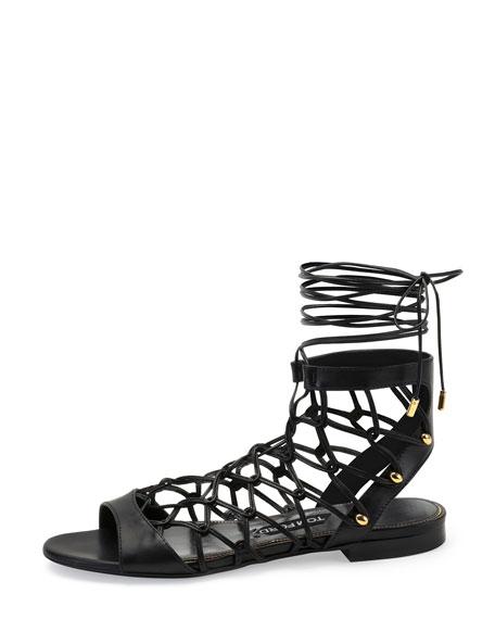 Chain-Link Lace-Up Sandal, Black