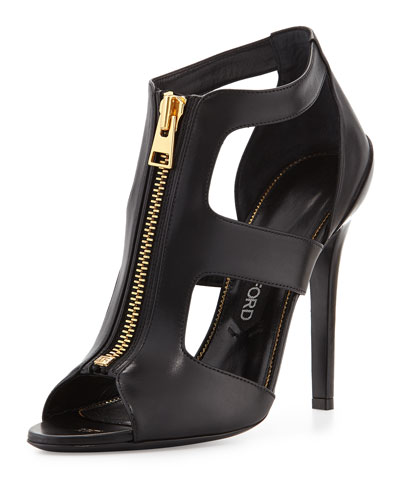 Tom Ford Cutout Leather Zip-Front Bootie, Black