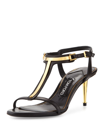 Leather T-Bar Sandal, Black