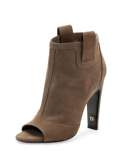 Tom Ford Suede Zip-Back Open-Toe Ankle Boot, Desert