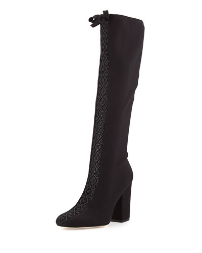 Bettye Muller Concerto Lace-Inset Knee Boot, Black