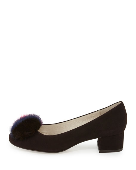 Bettye Muller Whisper Suede Pump with Fur Pouf, Brown