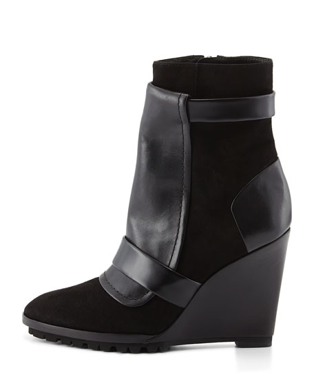 Karli Suede Wedge Bootie, Black
