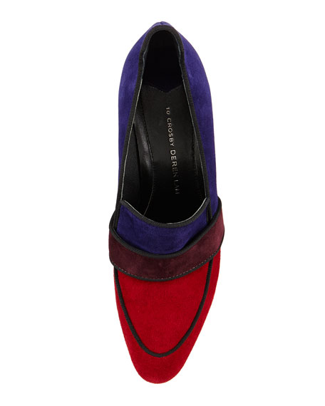 Pilar Suede Colorblock Pump, Scarlet Multi