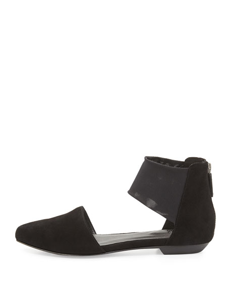 Allot Suede d'Orsay Flat, Black