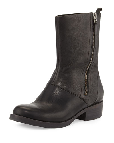 Eileen Fisher Alfa Leather Mid-Calf Boot, Black