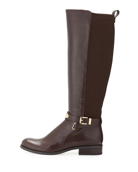 Arley Stretch Leather Knee Boot, Chocolate