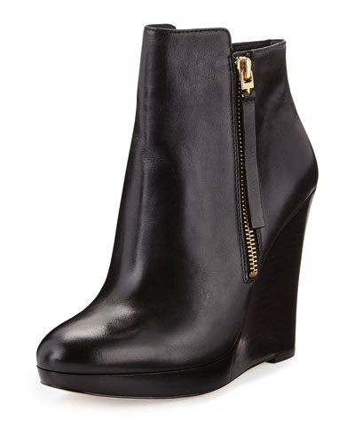 MICHAEL Michael Kors Clara Leather Wedge Bootie, Black