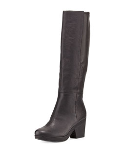 Eileen Fisher Ivy Leather Knee Boot, Black