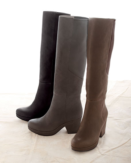 Ivy Leather Knee Boot, Coffee