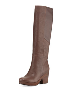Eileen Fisher Ivy Leather Knee Boot, Coffee