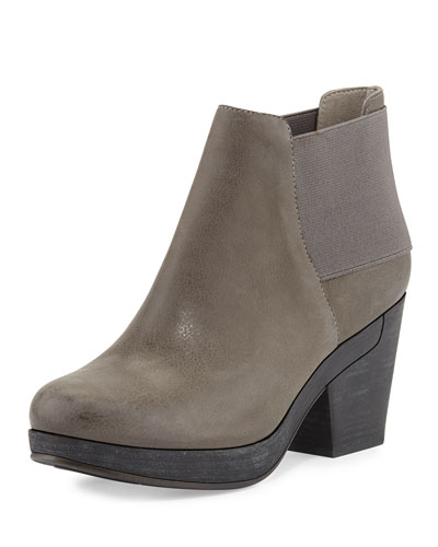 Eileen Fisher Cloud Leather Stretch-Back Ankle Bootie, Ash