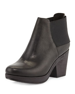 Eileen Fisher Cloud Leather Stretch-Back Ankle Bootie, Black