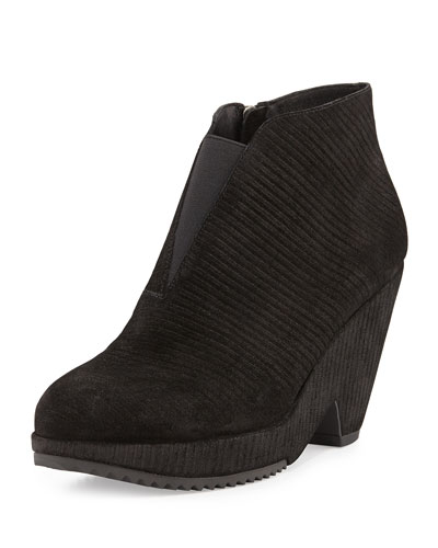 Eileen Fisher Space Suede Stretch-Front Bootie, Black