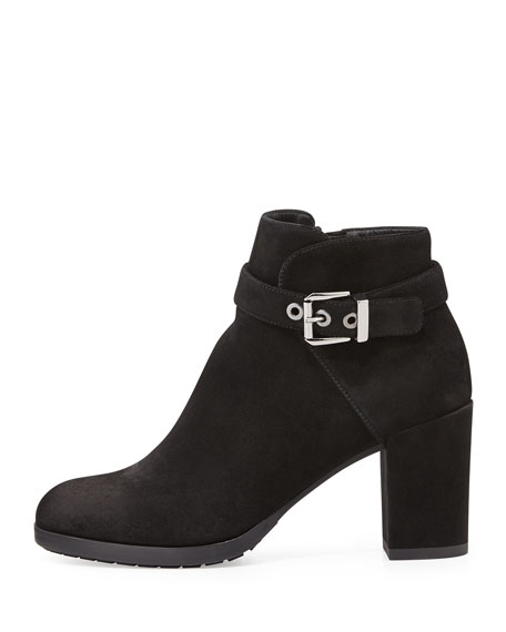 Yanine Buckle-Strap Ankle Boot, Black