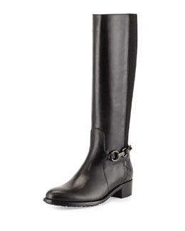 Aquatalia Oralie Leather Stretch Knee Boot, Black