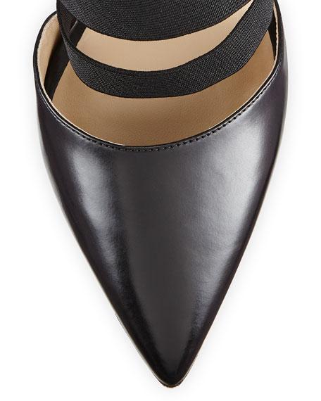 Alexa Stretch/Leather Pointed Pump, Black