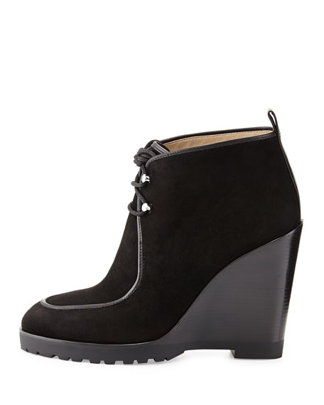 Michael Kors Beth Lace-Up Wedge Bootie Black