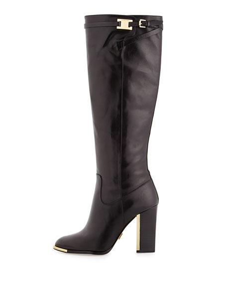 Julie Leather Knee Boot, Black