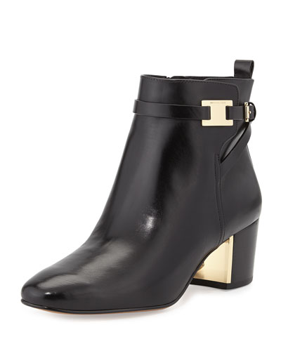 Michael Kors Yves Leather Ankle Boot, Black