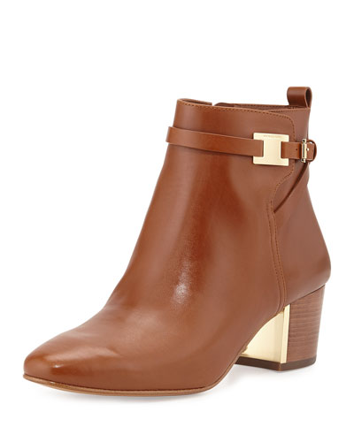 Michael Kors Yves Leather Ankle Boot, Luggage