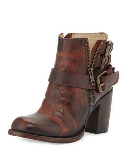 Freebird Bolo Triple-Buckle Ankle Boot, Cognac
