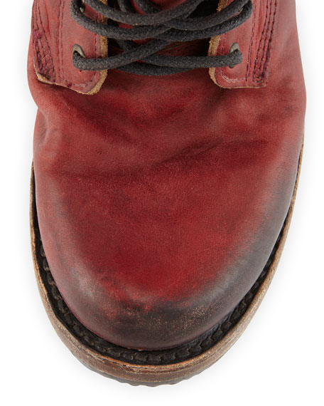 Charlie Leather Lace-Up Boot, Wine