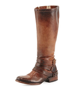 Freebird Irish Triple-Buckle Distressed Knee Boot, Cognac