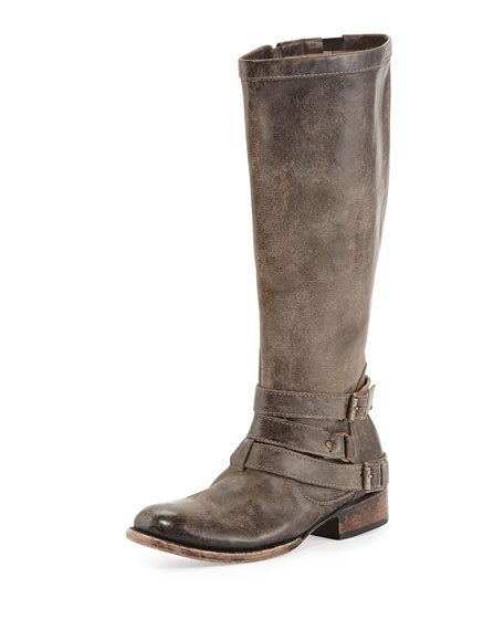Irish Triple-Buckle Distressed Knee Boot, Stone