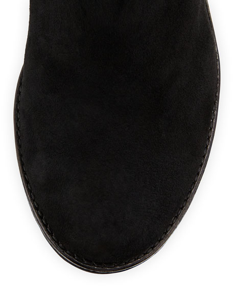 Paulette Quilted Sheepskin Fur Wedge Boot, Black