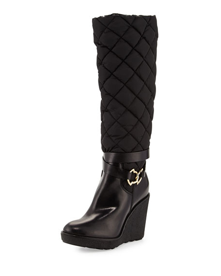 moncler new cernobbio quilted wedge boot