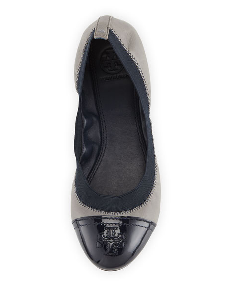 Gabby Cap-Toe Scrunch Flat, Quarry Rock/Navy