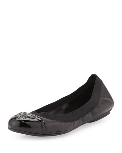 Tory Burch Gabby Cap-Toe Scrunch Flat, Black