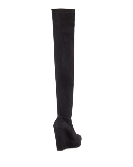 Tribeca Suede Wedge Over-the-Knee Boot, Black