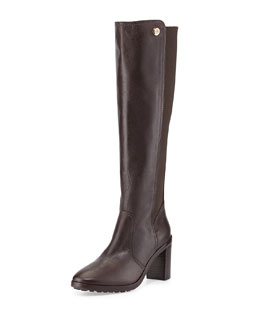 Tory Burch Sullivan Stretch-Back Knee Boot, Coconut Brown