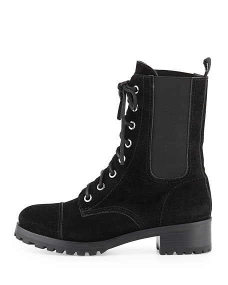 Broome Suede Combat Boot, Black