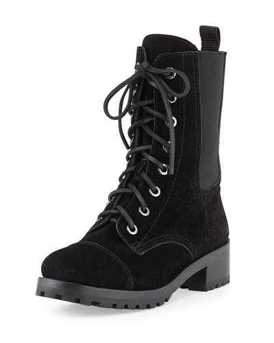 Tory Burch Broome Suede Combat Boot, Black