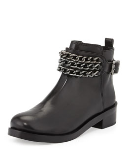 Tory Burch Bloomfield Chain Leather Bootie, Black
