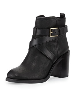 Tory Burch Hastings Cross-Strap Leather Bootie, Black