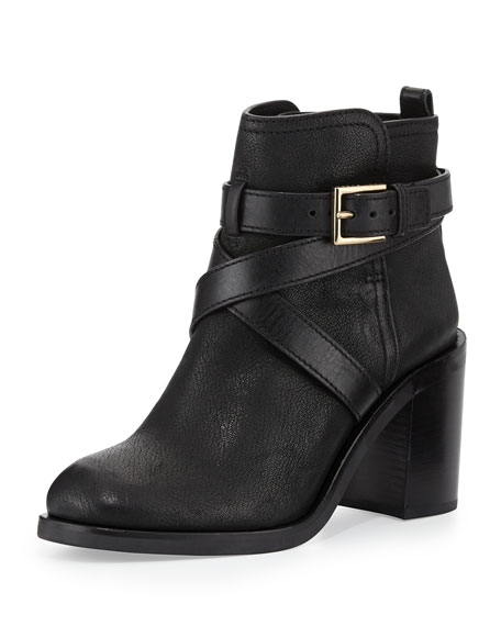Hastings Cross-Strap Leather Bootie, Black